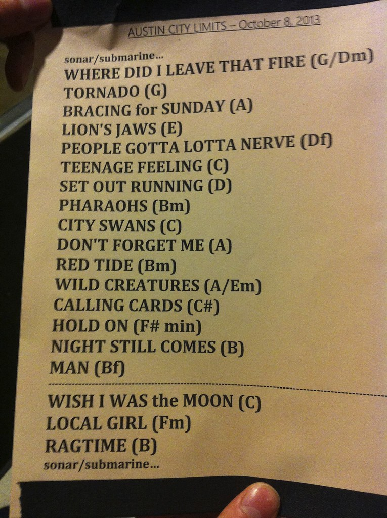 Neko Case ACL taping set list