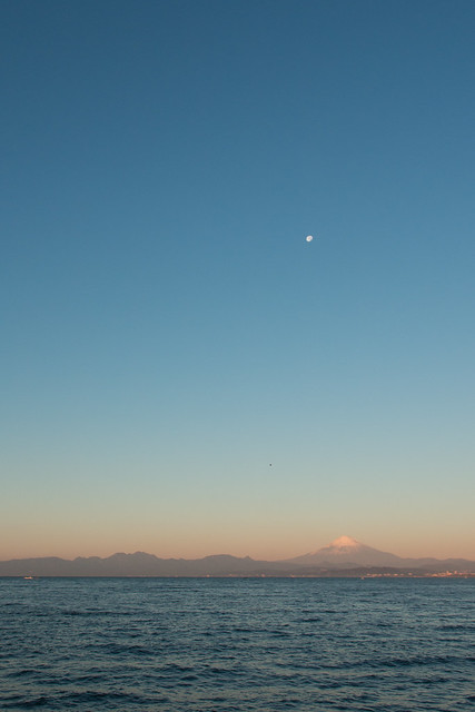 Mt. Fuji and the moon