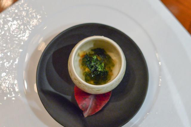 Cauliflower Mousse abalone tartare, osetra caviar, uni, aonori gelee, cherry blossom smoke