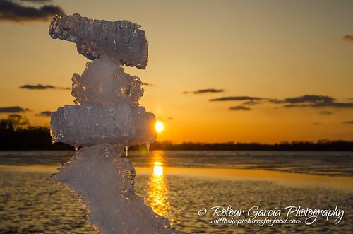 sunset lake snow ice frozen crystallake mainbeach chiberia