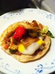 produce(0.0), pancake(0.0), tostada(1.0), meal(1.0), breakfast(1.0), brunch(1.0), food(1.0), dish(1.0), cuisine(1.0),