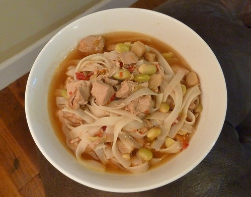 CrockPot Pork & Edamame Soup with Rice Noodles