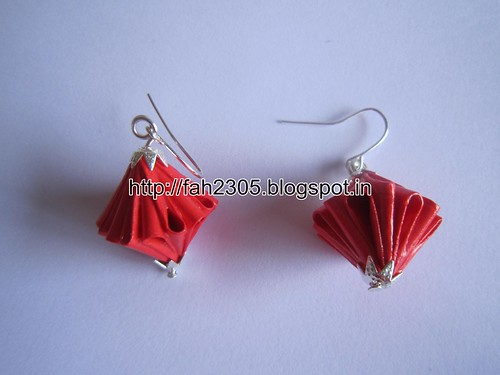 Handmade Jewelry - Origami Unit Diamond Paper Earrings (5) by fah2305
