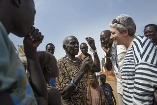 Oxfam Novib Executive Director Farah Karimi meets with people living inside UN House, Juba.
