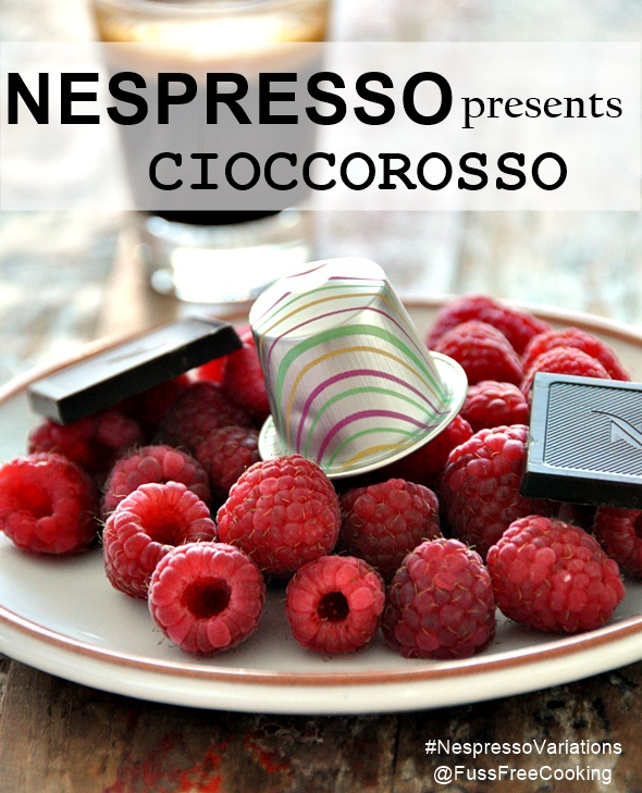 Raspberry, Coffee & Dark Chocolate Brownies with White Chocolate Drizzle ft. Nespresso Cioccorosso | www.fussfreecooking.com