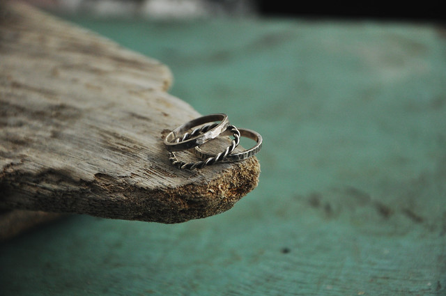set of silver rings