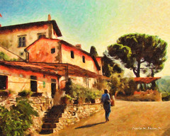 Digital Oil Painting of the Front of the Villa Vignamaggio, Greve in Chianti