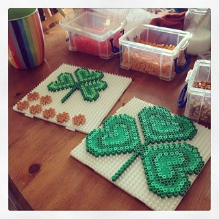 Happy with my #shamrock #hamabeads for #stpatricksday #getyourcrafton #bitlate