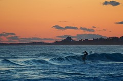 Sunset Surfing at Wuskenau Beach, RI