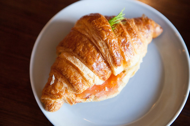 Salmon and cheese croissant sandwich