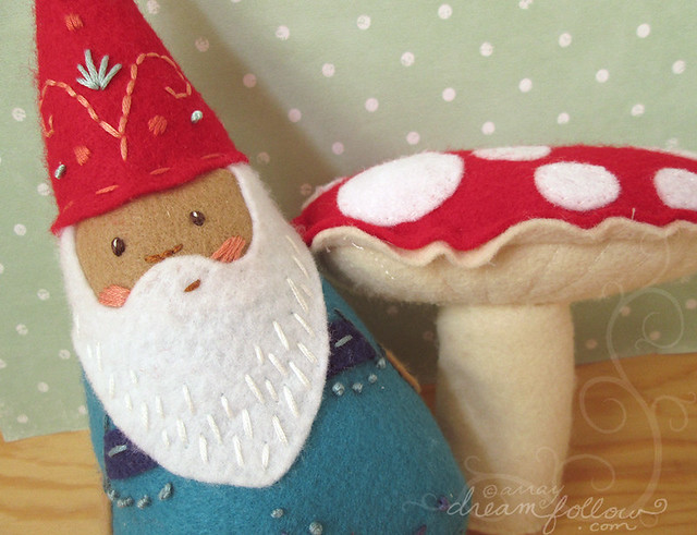 felt embroidered gnome and mushroom