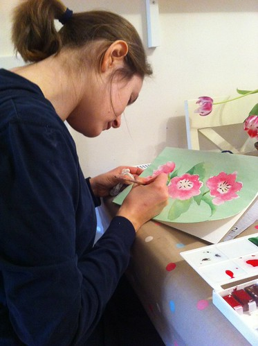 Zoya painting with watercolours