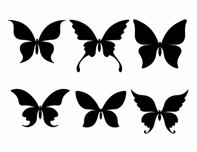LARGE free Butterfly Silhouettes - in solid black