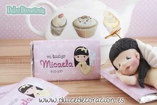 Recuerdo chocolatinas de bautizo Miacela