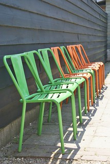 green & orange chairs