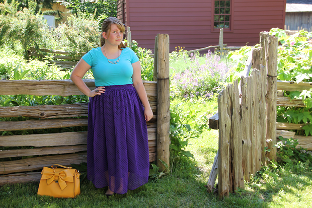 blog wanderlust whimsy megan what I wore ootd outfit teal pourple skirt thrifted thrifting joe fresh modcloth little black bag