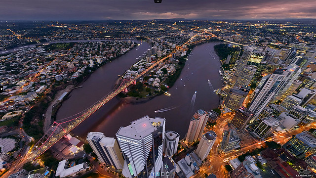 High above Brisbane's Fortitude Valley area.