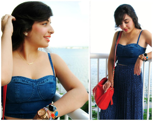 Blue bustier and maxi skirt