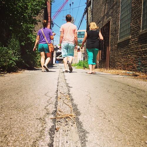 deciding to explore the alley as an alternative route