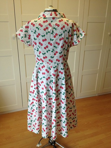 cherry-print shirtdress back