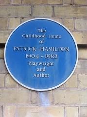 Photo of Patrick Hamilton blue plaque
