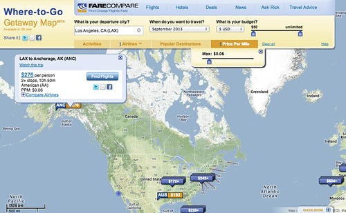 FareCompare Where to Go Getaway Map