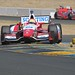 Justin Wilson and Sebatien Bourdais make their ways through the Turn 9 chicane at Sonoma Raceway