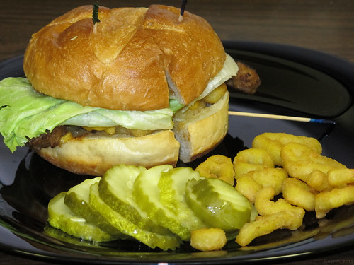 Cheddar BBQ pork sandwich with fried banana peppers by Coyoty