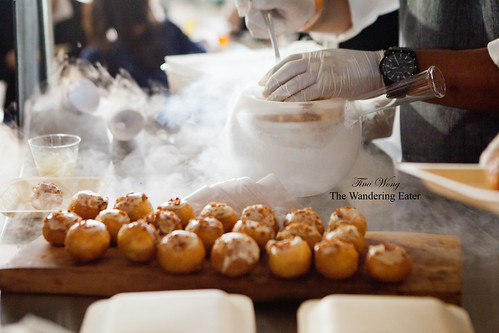 Pastry Chef Carlos Enriquez of Patina Restaurant Group (Los Angeles, CA) - Spicy kettle corn chicharrones in liquid nitrogen