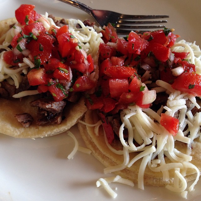 I like to take pictures of my lunch. Yum! Carne asada tacos.