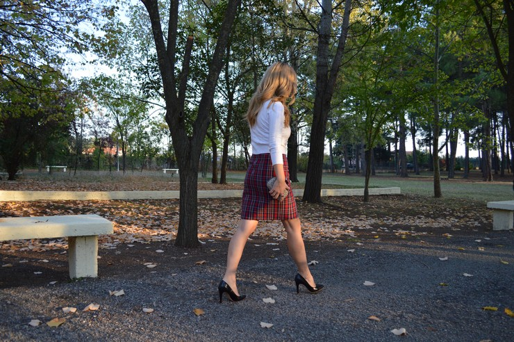 check skirt white top 6