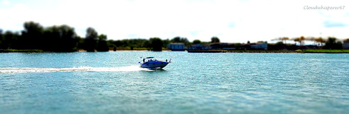 Tiny Speedboat on the Turquoise Lake - Soft Tiltshift