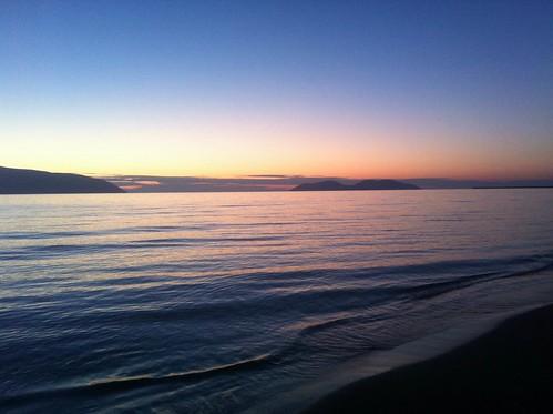 sunset sea panorama island scenery waves albania valona vlorë avlonya