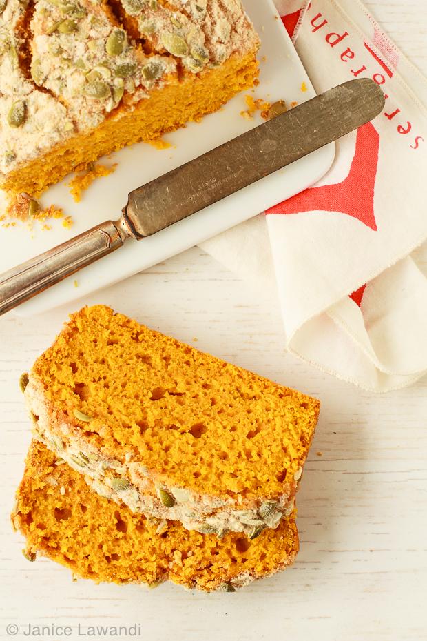 Maple pumpkin loaf slices