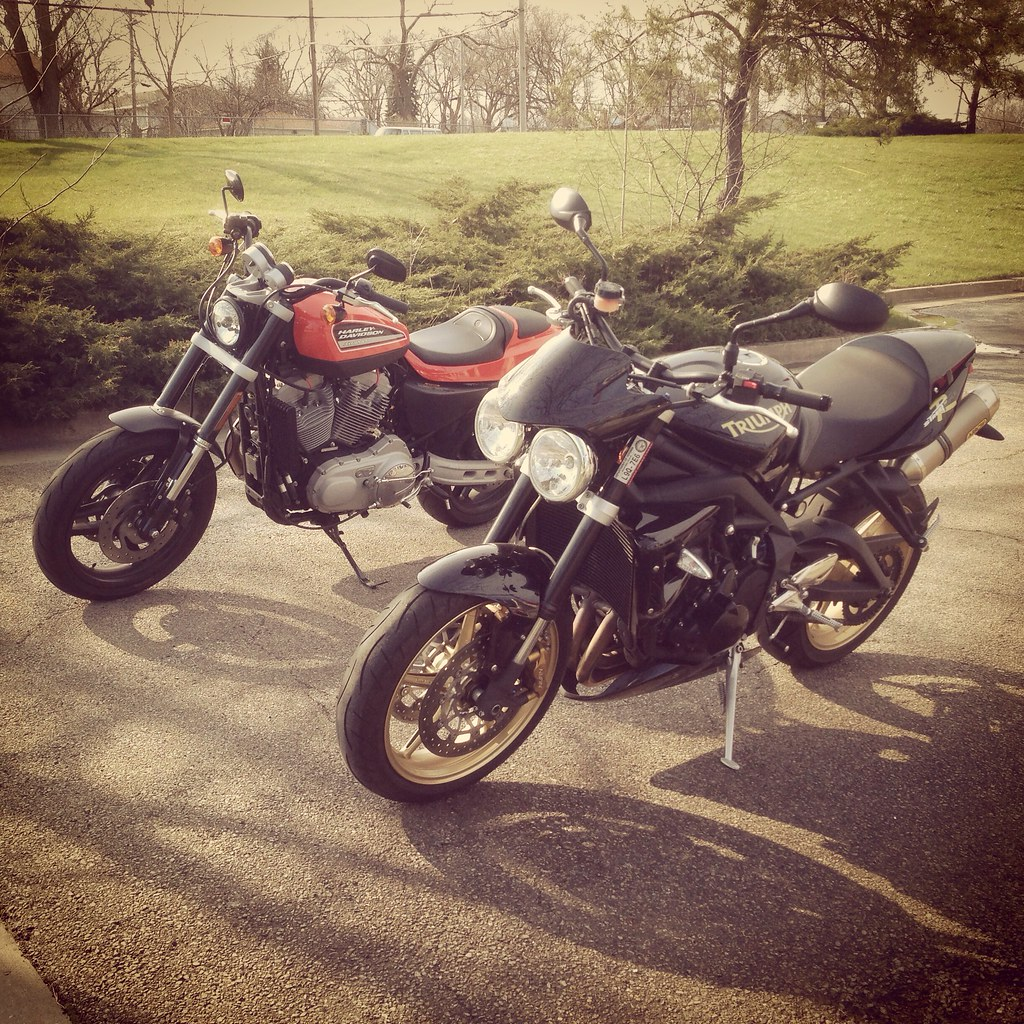 Triumph Street Triple R and Harley Davidson XR1200