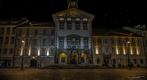 City hall at night @ Ljubljana, Slovenia, Europe