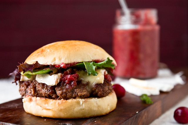 Burgers with Bacon & Cranberry Chutney and Brie