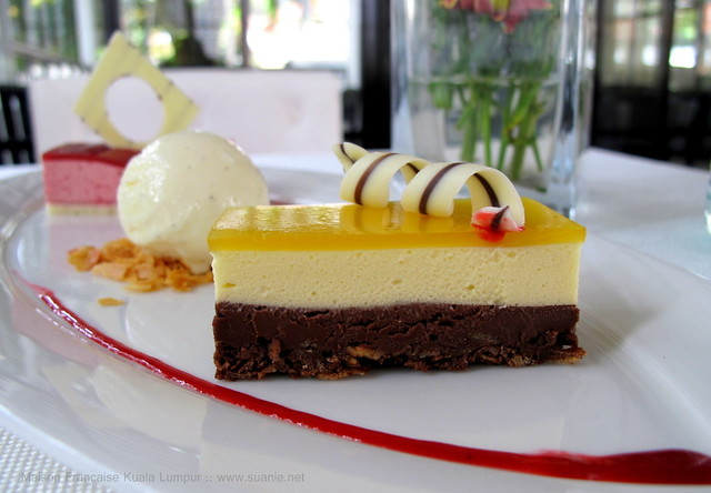 Maison Francaise Kuala Lumpur - dessert of chocolate ganache and passion fruit mousse, red berry entrement, ice-cream