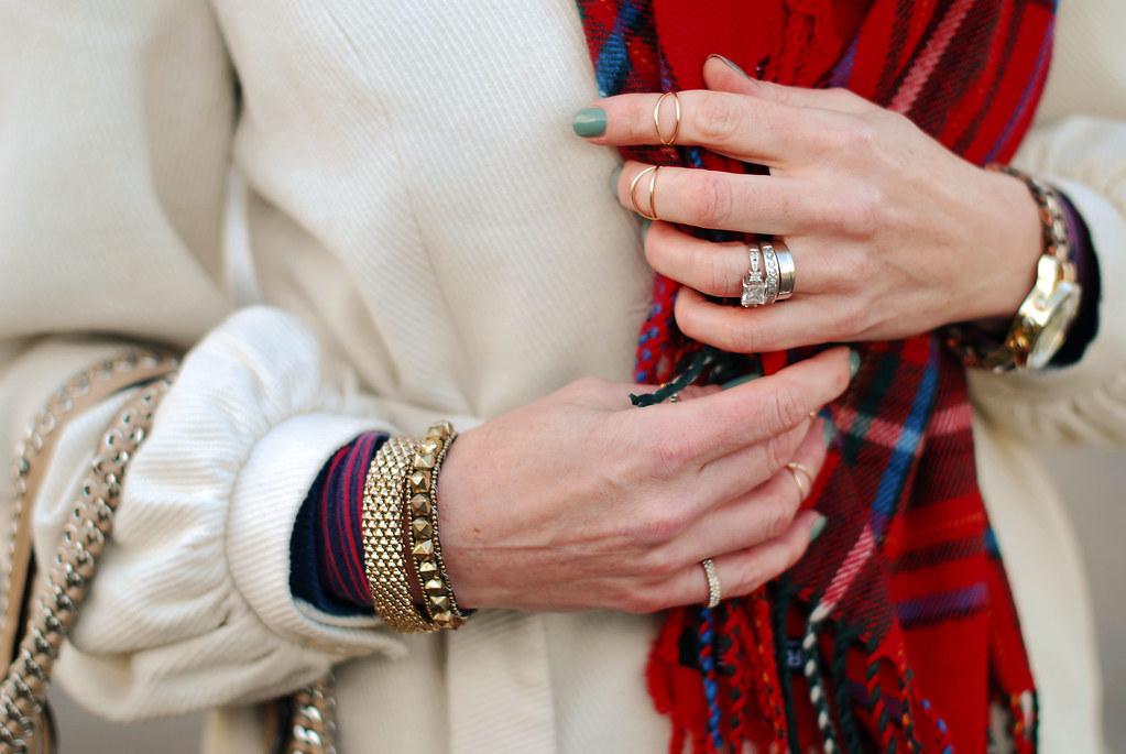 Tartan scarf, white coat