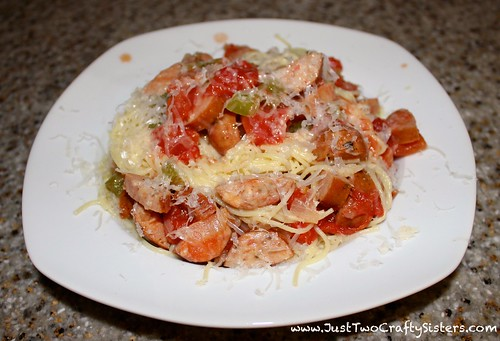 Sausage pasta recipe with tomatoes, bell pepper and onion