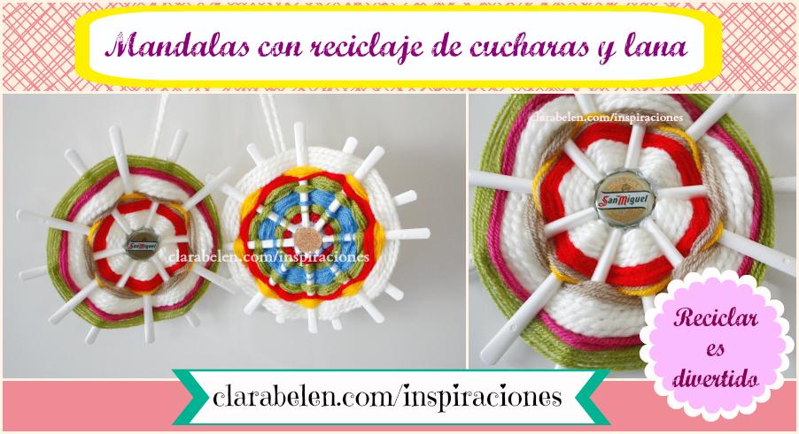 DIY hacer mandalas de lana con reciclaje cucharas para los niños