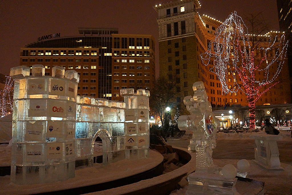 Rice Park - St. Paul, MN Winter Carnival ice sculpture beginnings