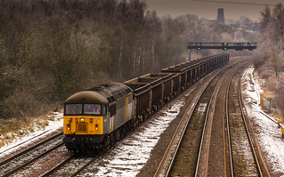 Class 56/3 no 56301 of the Class 56 Group passes through Tupton with a Northbound Scrap Train on 17-01-2013
