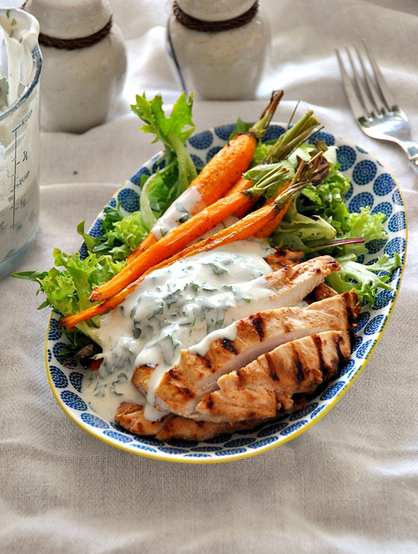 Grilled Garlic & Buttermilk Chicken Salad with Buttermilk & Tahini Dressing | www.fussfreecooking.com