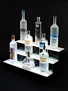 3 Tier LED Lighted Liquor Bottle Shelves Display - 100% Acrylic