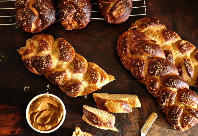 Pretzel Challah with Adobo-Lime Butter