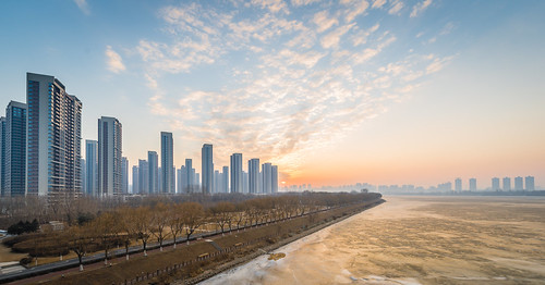 Sun Rise on River in Shenyang.