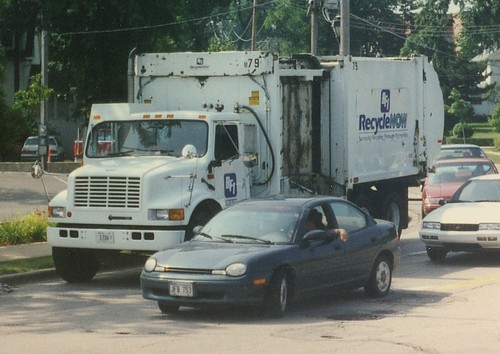 Browning Ferris Industries International side loading recycling truck.  Elmhurst Illinois.  July 1996. by Eddie from Chicago