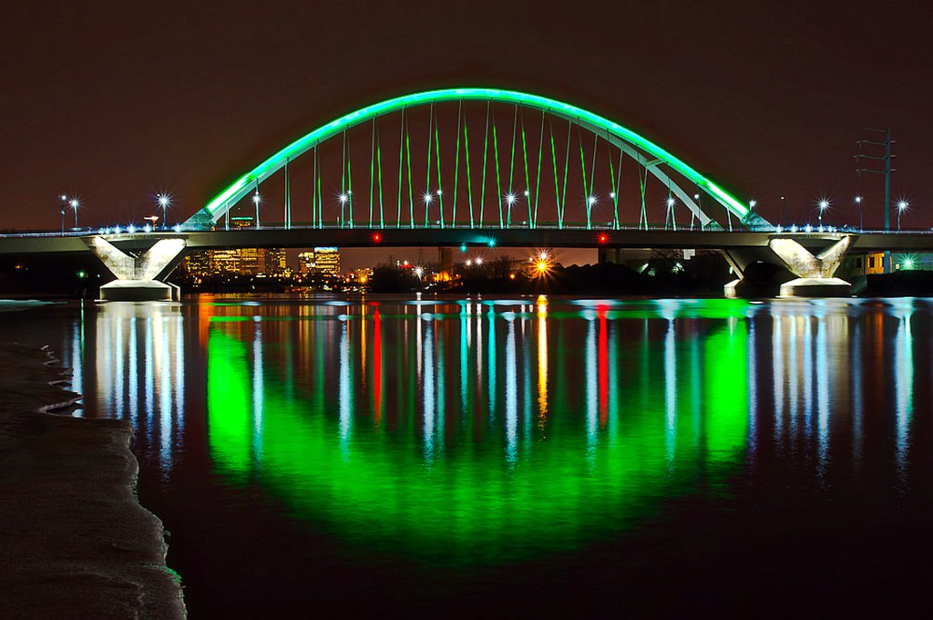 Lowry Bridge in St. Patrick's Day green