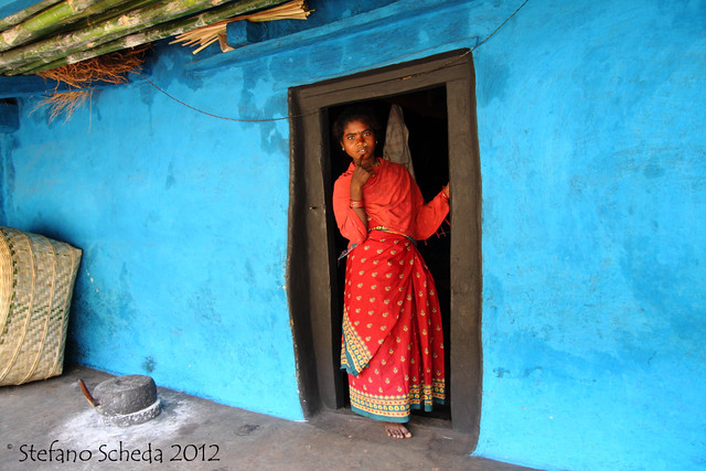 Traditional house entrance - Peta, Orissa, India